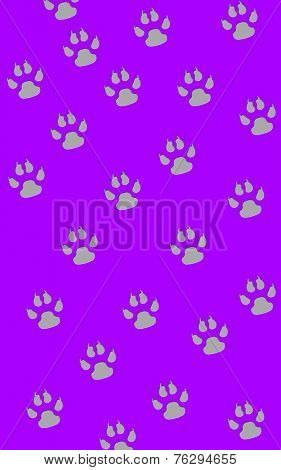 Gray paw prints in a random pattern on purple