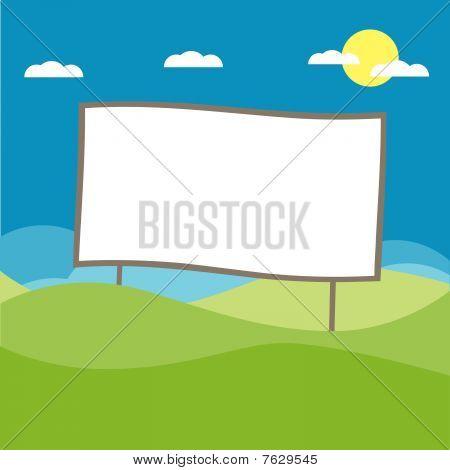 Billboard at the field illustration cartoon