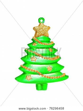 Green Dull Christmas Ball On White Background