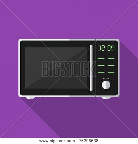 Microwave with long shadow. Vector icon