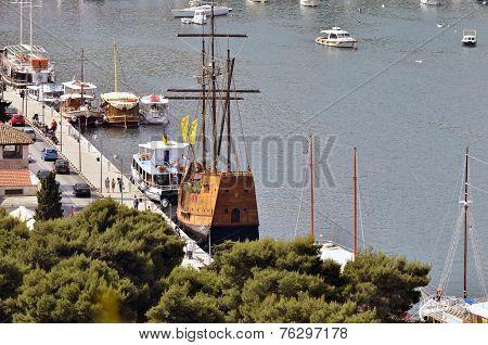 Boats on the dock in the coast of Croatia