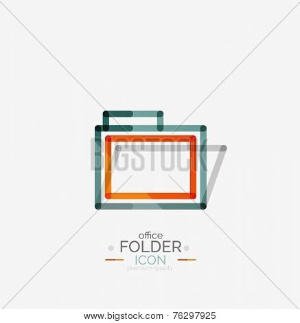 Folder logo, stamp. Accounting binder. Minimal line design