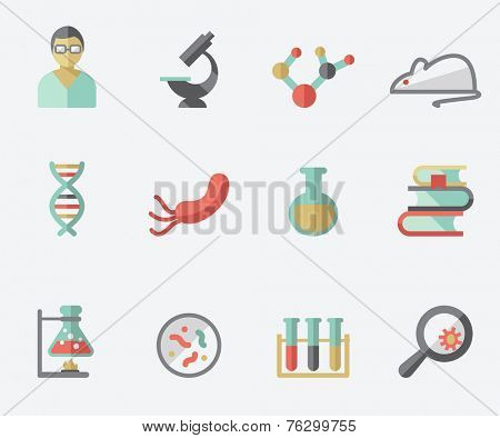 Science and research icons, flat design, light background