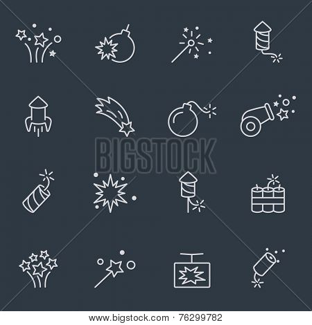 Pyrotechnic set, thin line design, dark background