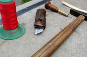 picture of leather tool  - Tool for making leather accessories and some of product - JPG
