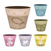 Постер, плакат: Set of Decorative Flower Pots on White Background