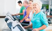 image of treadmill  - Group with senior and young men and women people on treadmill in fitness gym running for sport - JPG
