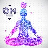 picture of mantra  - Vector watercolor illustration with a men in a meditation pose - JPG