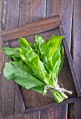 image of sorrel  - fresh sorrel on the wooden board and on a table - JPG