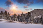 foto of snowy hill  - Winter landscape in the mountains - JPG