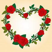 picture of red rose flower  - Vector Rose Frame in the shape of heart - JPG