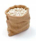 picture of phaseolus  - Loose dry haricot beans in burlap sack - JPG