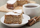 picture of cinnamon  - Rusks pie with cinnamon and powdered sugar - JPG