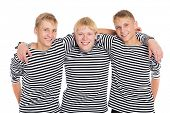 stock photo of conscript  - Smiling boys in striped shirt isolated on white background - JPG