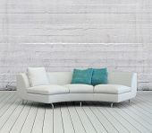 picture of lounge room  - 3D Rendering of Elegant White Sofa with White and Green Pillows on an Empty Lounge Room with Textured White Wall Background and Wooden Flooring Design - JPG