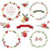 stock photo of christmas wreath  - Christmas Wreath Clip Art - JPG