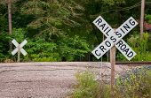 pic of railroad-sign  - Railroad crossing sign on a hill road