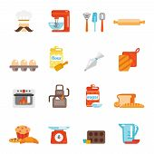 picture of cake-mixer  - Bakery icon flat set with bread cakes flour pastry isolated vector illustration - JPG