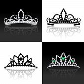 image of tiara  - Tiara female luxury royal jewelry silver decorative set isolated vector illustration - JPG