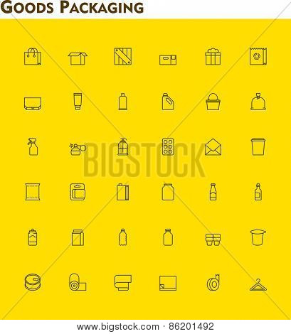 Set of the packaging  related icons