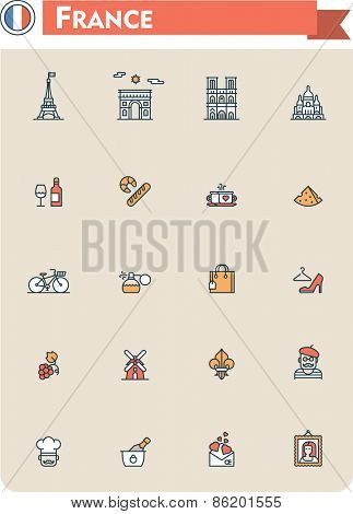 Set of the France traveling related icons