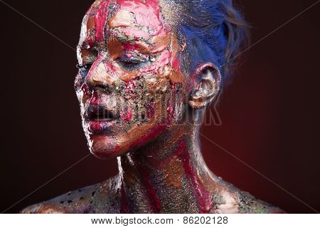 sensual girl with colorful bodyart