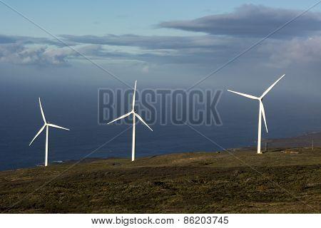 The Auwahi Wind Farm on the south side of Maui, Hawaii