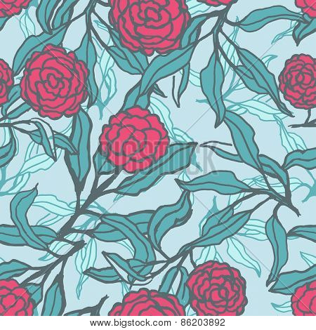Vector seamless floral pattern with lily flowers. Vector illustration