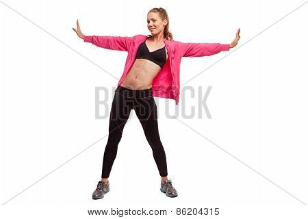 Woman stretching gym, fitness female isolated on white