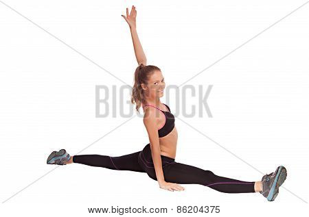Attractive healthy young woman stretching gym, fitness female isolated