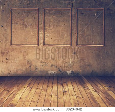 old grunge room with three wooden frames, retro filtered, instagram style