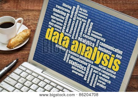 data analysis word cloud on a laptop with a cup of coffee