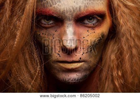 amazing woman with a gold skin face art