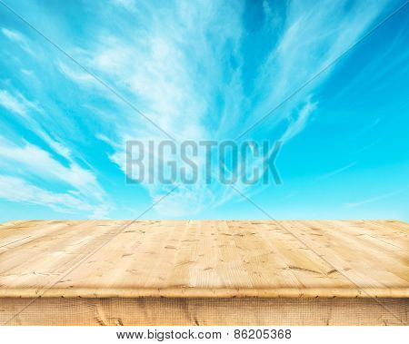 Wooden boards over a blue sky