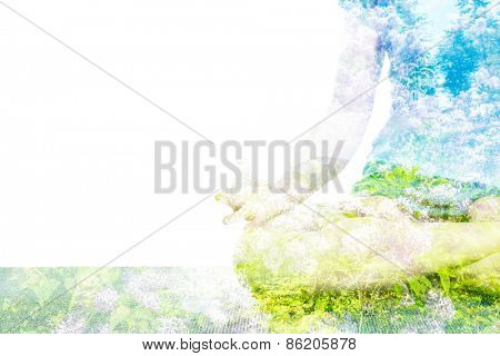 Nature harmony healthy lifestyle concept - double exposure clouse up  image of  woman doing yoga asana Padmasana (Lotus pose) cross legged position with Chin Mudra - psychic gesture of consciousness