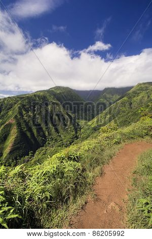 Waihee Ridge Trail, looking up the valley to the West Maui Mountains, Hawaii