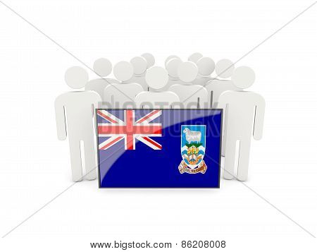 People With Flag Of Falkland Islands