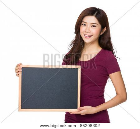 Beautiful girl with blank placard board