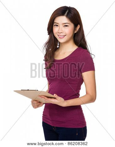 Young asian woman holding file document