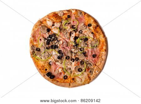 Top view of tasty Italian pizza with ham, mushrooms, and olives, isolated on white background