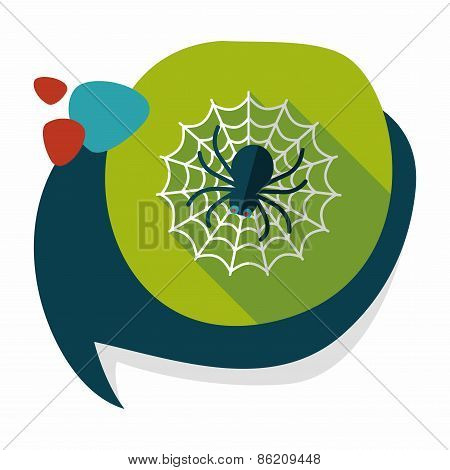 Halloween Spider Flat Icon With Long Shadow,eps10