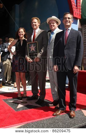 LOS ANGELES - MAR 24:  Molly Shannon, Will Ferrell, John C. Reilly, Eric Garcetti at the Will Ferrell Hollywood WOF Star Ceremony at the Hollywood Boulevard on March 24, 2015 in Los Angeles, CA