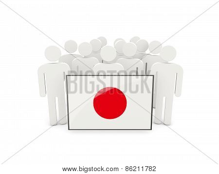 People With Flag Of Japan