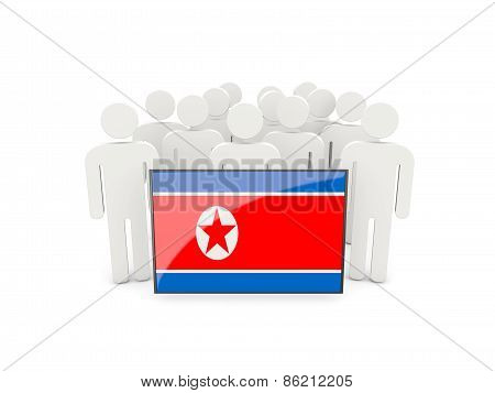 People With Flag Of North Korea