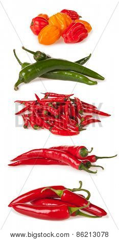 Isolated piles of various kind of chilli peppers isolated on white background