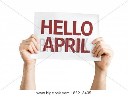 Hello April card isolated on white