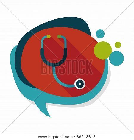 Stethoscope Flat Icon With Long Shadow,eps10