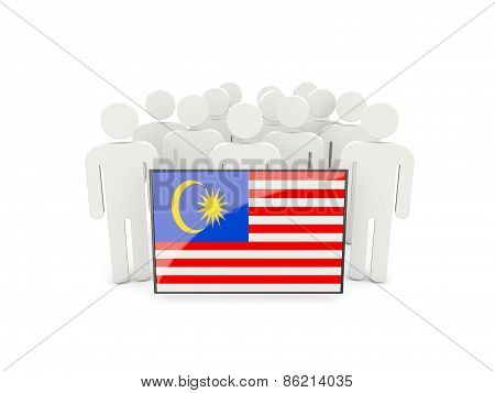 People With Flag Of Malaysia