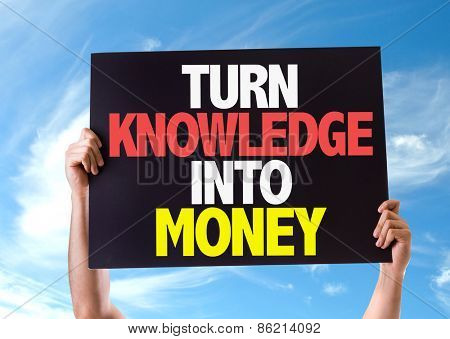 Turn Knowledge Into Money card with sky background