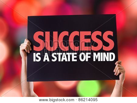 Success Is a State of Mind card with bokeh background